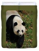 Waddling Giant Panda Bear In A Grass Field Duvet Cover