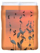 Wading Birds Forage In Colorful Sunset Duvet Cover