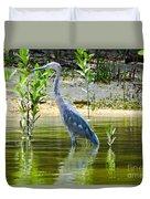 Wading Blue Heron Duvet Cover