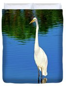 Wading Great White Egret Duvet Cover