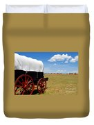 Wagon At Old Fort Union Duvet Cover