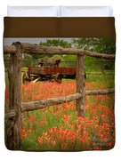 Wagon In Paintbrush - Texas Wildflowers Wagon Fence Landscape Flowers Duvet Cover