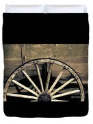 Wagon Wheel - Old West Trail N832 Sepia Duvet Cover