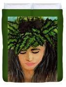 Wahine Woman In Hawaiian #244 Duvet Cover