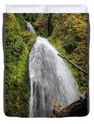 Wahkeena Falls At Footbridge, Oregon Duvet Cover