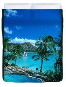 Waikiki And Sailboat Duvet Cover