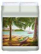 Waikiki Beach Outrigger Canoes 344 Duvet Cover