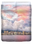 Waikiki Beach Sunset Duvet Cover