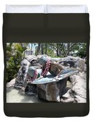 Waikiki Statue - Surfer Boy And Seal Duvet Cover