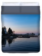 Waiting For Sunrise - Blue Hour At The Lighthouse Infused With Soft Pink Duvet Cover