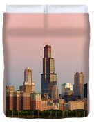 Wake Up Chicago Duvet Cover by Sebastian Musial