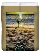 Walk By The Sea Duvet Cover