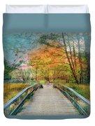 Walk To The Lake In Watercolors Duvet Cover