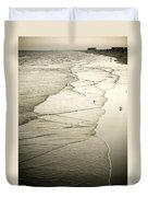 Walking Along The Beach At Sunrise Duvet Cover