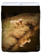 Walking By The Pond Duvet Cover
