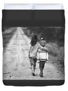 Walking Down The Road Duvet Cover