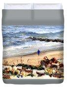 Walking The Beach On Long Beach Island Duvet Cover