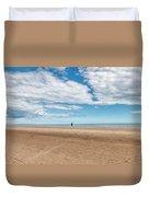 Walking The Dog On The Beach Duvet Cover