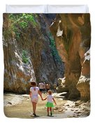 Walking Through The Gorge Of Saklikent Duvet Cover