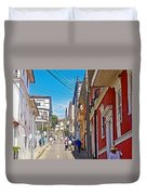 Walking Up Steep Streets In Hilly Valparaiso-chile Duvet Cover