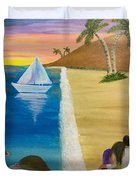 Walking With You On Beach Duvet Cover