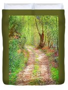 Walkway In Secluded Deciduous Forest Duvet Cover