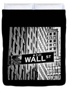 Wall St Sign New York In Black And White Duvet Cover