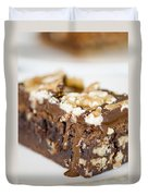 Walnut Brownie On A White Plate Duvet Cover