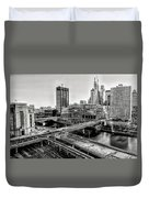 Walnut Street City View In Black And White Duvet Cover