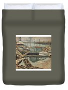 Walter  E  Schofield 1867-1944 Dock With Shed Duvet Cover