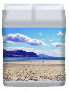 Wandering On The Beach Under The Clouds Duvet Cover