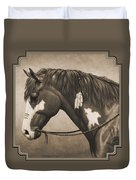 War Horse Aged Photo Fx Duvet Cover