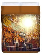 Warm Autumn City. Warm Colors And A Large Film Grain. Duvet Cover
