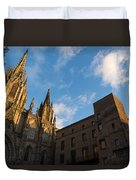 Warm Sun Glow On The Cathedral Of Barcelona Duvet Cover