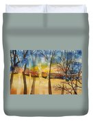 Warmth Waiting Beyond The Hill Duvet Cover