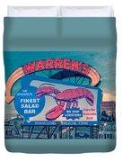 Warrens Lobster House Neon Sign Kittery Maine Duvet Cover