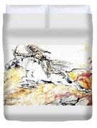Warrior On White Horse Duvet Cover