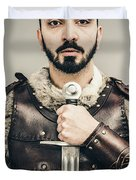 Warrior With Sword Duvet Cover