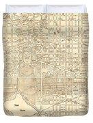 Washington Dc Antique Vintage City Map Duvet Cover