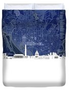 Washington Dc Skyline Map 4 Duvet Cover