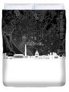 Washington Dc Skyline Map 5 Duvet Cover