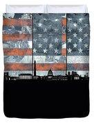 Washington Dc Skyline Usa Flag Duvet Cover