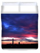 Washington Monument Dramatic Sunset Duvet Cover