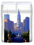 Washington Looking Over To City Hall Duvet Cover by Bill Cannon