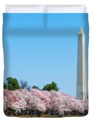 Washington Monument And Cherry Blossoms Duvet Cover