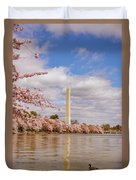 Washington Monument With Cherry Blossom Duvet Cover