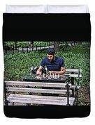 Washington Square Park Chess Man Duvet Cover