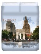 Washington Square Park Greenwich Village With Text New York City Duvet Cover