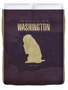 Washington State Facts Minimalist Movie Poster Art Duvet Cover