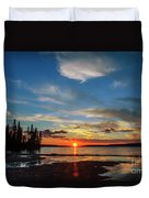 A Delightful Summer Sunset On Lake Waskesiu In Canada Duvet Cover